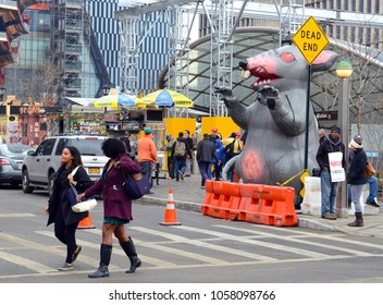 NEW YORK CIRCA MARCH 2018. Inflatable rat known as Scabby the Rat, being used by Labor Union workers to strike and protest working conditions and benefits in the west side of Manhattan by Hudson Yards