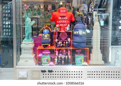NEW YORK CIRCA MARCH 2018. Souvenir store in Times Square selling New York and USA souvenirs including Make America Great hats and shirts a slogan popularized by Donald Trump, now president