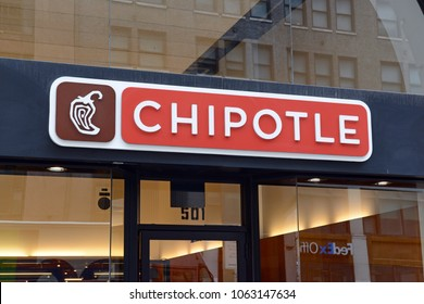 NEW YORK CIRCA MARCH 2018. Chipotle Restaurant in Manhattan, a food chain that despite efforts to rebuild its brand has not recovered after many customers suffered from food poisoning at its stores.