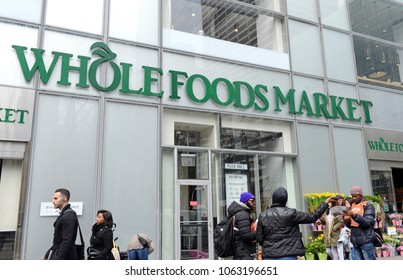 NEW YORK CIRCA MARCH 2018. Whole Foods Market in Manhattan, a retailer known for organic and natural foods changed the landscape for food shopping when it was acquired by Amazon.com in 2017