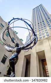 NEW YORK - CIRCA MAY 2013:: The historic Atlas Statue in the Rockefeller Center, New York, circa May 2013. It stands for power in the 5thAve where is located the most expensive stores of Manhattan,NYC
