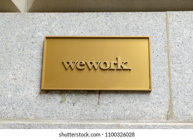 NEW YORK - CIRCA MAY 2018. In the current era of sharing assets, wework has become increasingly popular as smaller or temporary shared workspace especially as real estate prices rise higher.