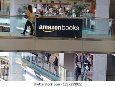 NEW YORK CIRCA NOVEMBER 2018. In a departure from most Internet firms, Amazon has been opening more physical brick and mortar stores like this Amazon Books store in Columbus Circle in New York City.
