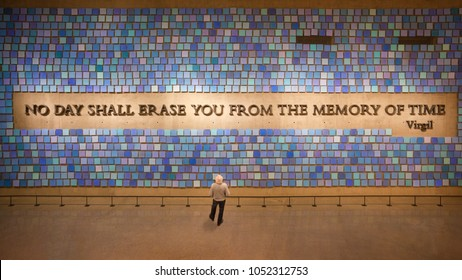 NEW YORK - CIRCA OCTOBER 2016: Visitor drawn by Virgil quote dominating the Memorial Hall, National September 11 Memorial and Museum, New York City, USA