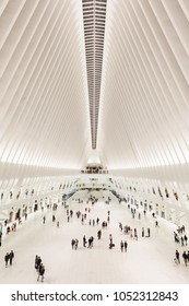NEW YORK - CIRCA OCTOBER 2016: The white interior of the Oculus, the World Trade Center station in Lower Manhattan, New York City, USA
