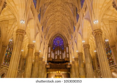 NEW YORK - CIRCA OCTOBER 2016: Interior of St. Patrick's Cathedral with the Gallery Organ, New York City, USA