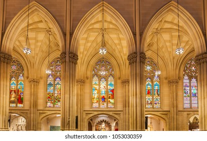 NEW YORK - CIRCA OCTOBER 2016: The beautiful stained-glass windows of St. Patrick's Cathedral, New York City, USA