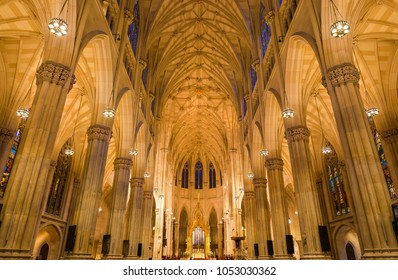 NEW YORK - CIRCA OCTOBER 2016: Interior of St. Patrick's Cathedral with the main nave and altar, New York City, USA