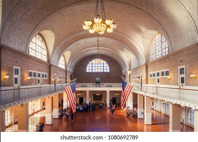 NEW YORK - CIRCA OCTOBER 2016: The Registration Hall at Ellis Island where arriving immigrants were inspected, New York City, USA