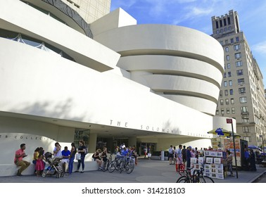 NEW YORK - CIRCA SEPTEMBER 2015. The Guggenheim Museum in the Upper East Side of Manhattan is a popular tourist draw and houses a large collection of Impressionist, modern and contemporary art works.