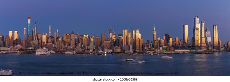 NEW YORK - CIRCA SEPTEMBER 2019: Manhattan evening sunset skyline buildings