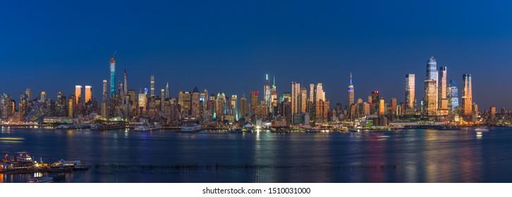 NEW YORK - CIRCA SEPTEMBER 2019: Manhattan skyline across Hudson river evening sunset