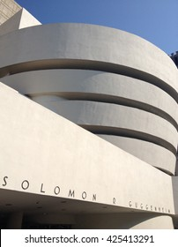 NEW YORK CITY - 12 JULY 2014: The facade of Frank Lloyd Wright's Guggenheim Museum on 5th Avenue in Manhattan.