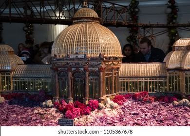 New York City - 13 January 2018: Organic materials model of the Enid A Haupt Conservatory, part of the New York Botanical Garden Holiday Train Show in the Bronx.