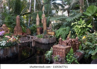 New York City - 13 January 2018: Models of famous New York Buildings at the New York Botanical Garden Holiday Train Show including the Chrysler Building, Empire State Building and the Woolworth Bldg.