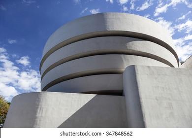 New York City, 14 september 2015: south facade of museum guggenheim in new york city on sunny day