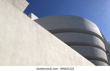 NEW YORK CITY - 24 SEPTEMBER 2016: Brilliant blue sky behind the Guggenheim Museum on Museum Mile in Manhattan. Iconic modern museum by architect Frank Lloyd Wright.