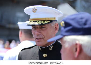 NEW YORK CITY - 25 MAY 2015: Mayor Bill de Blasio & Gen John Kelly presided over Memorial Day observances on Pier 86 by the USS Intrepid. General John Kelly, USMC, on Pier 86