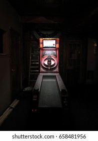 New York City - 26 August 2015: Beer Ball skee-ball arcade game at Boss Tweed Saloon in the Lower East Side, Manhattan, New York. Vintage skee-ball game in a LES pub.