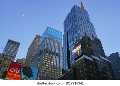 NEW YORK CITY -26 JAN 2018- Night view of the Barclays Times Square building, formerly Lehman Brothers on 7th Avenue in Manhattan .