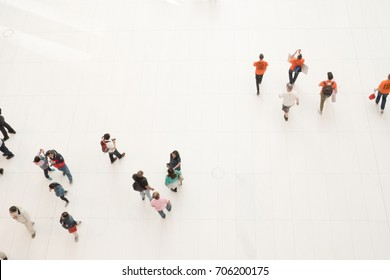 New York City - 3 June 2017: Bird's eye view of people walking around the Oculus in downtown Manhattan. Interior of Santiago Calatrava's Oculus. Looking down on people from above.