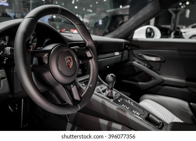 New York City - 3/25/16 - At the New York International Auto Show, Inside the luxurious cabin of the Porsche Panamera S E-Hybrid