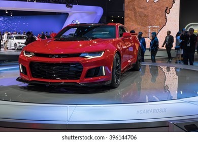 New York City - 3/25/16 - At the New York International Auto Show, Chevrolet showcases the all new Camaro ZL1.  Front view