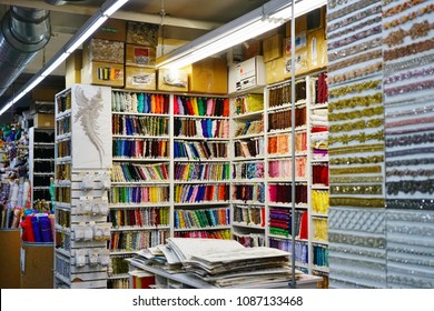 NEW YORK CITY -5 MAY 2018- View of the interior of Mood Fabrics, a textile store on 37th Street in the Garment District made famous by the TV show Project Runway.
