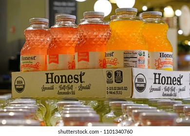 NEW YORK CITY -5 MAY 2018- View of cases with glass bottles of Honest Tea bottled iced tea. It is owned by Coca-Cola.