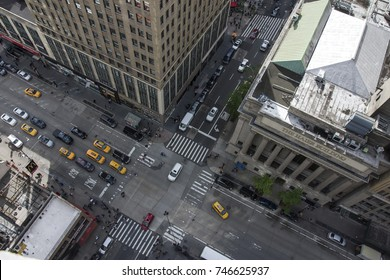 New York City 5th Ave Vertical view. Aerial view of streets of NYC
