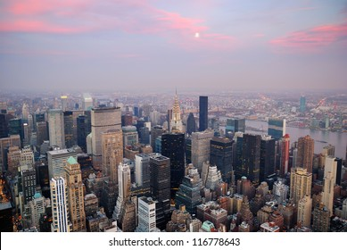 New York City aerial view with Manhattan skyline and skyscrapers.