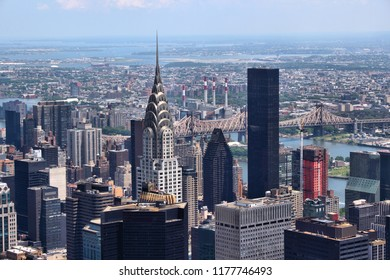 New York City aerial view with Midtown Manhattan and Queens.