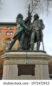 New York City - Apr 10, 2021: Lafayette and Washington monument in Lafayette Square in Morningside Heights along Manhattan Avenue in New York City.