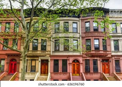 New York City - Apr 30, 2017: Brownstones in the Harlem Neighborhood of New York City.