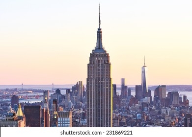 NEW YORK CITY - APRIL 01: Cityscape view of Manhattan with Empire State Building, New York City, USA at sunset on April 01, 2014.