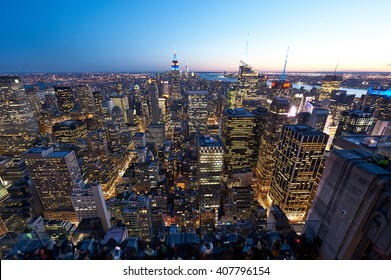 NEW YORK CITY - APRIL 1: Cityscape view of Manhattan, New York City, USA at night,  April 1 2014 in New York, USA