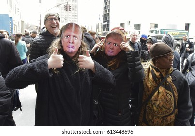 NEW YORK CITY - APRIL 1 2017: April first, April Fool's Day, was celebrated by pranksters parading around an effigy of President Trump along Fifth Avenue in front of Trump Tower.