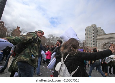 NEW YORK CITY - APRIL 1 2017: More than one hundred New Yorkers gathered at Washington Square Park for the 12th annual Pillow Fight to benefit NYC homeless shelters