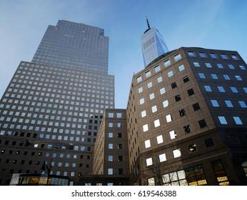 New York City - April 10 2017. World Trade Center, Freedom Tower and Goldman Sachs NYC headquarter