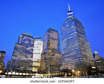 New York City - April 10 2017. Brookfield Place Goldman Sachs and Freedom Tower in Lower Manhattan Financial District at night