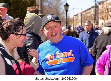 NEW YORK CITY - APRIL 11 2015: the Park Slope Baseball Association & Prospect Park Alliance marked opening day of little league in Prospect Park with Mayor Bill de Blasio & other officials on hand.