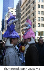 NEW YORK CITY - APRIL 12 : Men in ornate hats participate in the annual Easter Parade along 5th Avenue April 12, 2009 in Manhattan.
