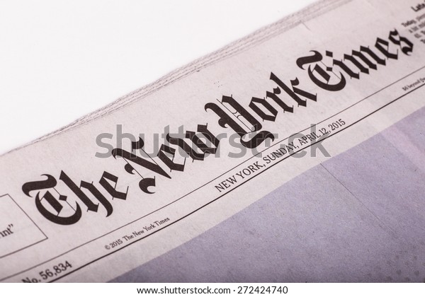 NEW YORK CITY - APRIL 13, 2015:  Image of front page from The New York Times Sunday newspaper.