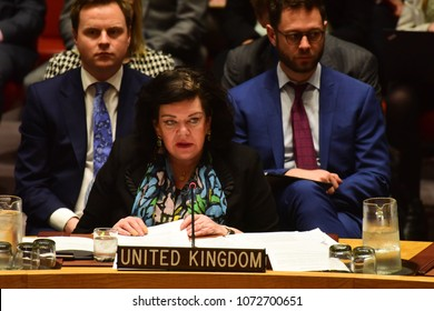 NEW YORK CITY - APRIL 14 2018: The UN Security Council held an emergency to debate & vote a Russian resolution condemning US & Allied aggression against Syria. UK Representative Karen Pierce