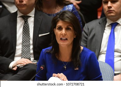 NEW YORK CITY - APRIL 14 2018: The UN Security Council held an emergency to debate & vote a Russian resolution condemning US & Allied aggression against Syria. US Representative Nikki  Haley