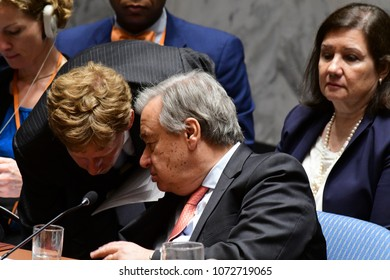 NEW YORK CITY - APRIL 14 2018: The UN Security Council held an emergency to debate & vote a Russian resolution condemning US & Allied aggression against Syria. Secretary-General Antonio Guterres