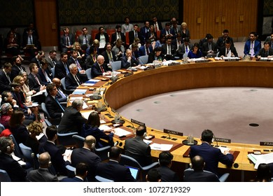 NEW YORK CITY - APRIL 14 2018: The UN Security Council held an emergency to debate & vote a Russian resolution condemning US & Allied aggression against Syria