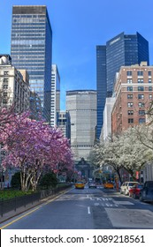 New York City - April 14, 2018: MetLife Building and Midtown Skyline from Park Avenue in Manhattan, New York City.