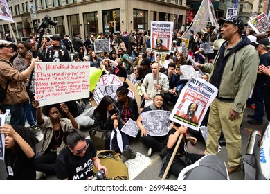 NEW YORK CITY - APRIL 14 2015: several hundred activists from Stop Mass Incarceration Network rallied at Union Square Park before marching to Lower Manhattan.