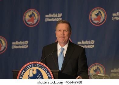 NEW YORK CITY - APRIL 14 2016: The New York state Republican party held a gala in honor of New Mexico governor Susana Martinez. Ohio governor & GOP candidate John Kasich speaks